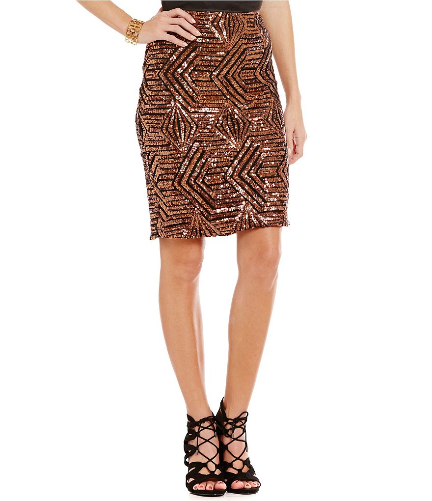 Sugarlips Geometric Sequin Hook Back Pencil Skirt