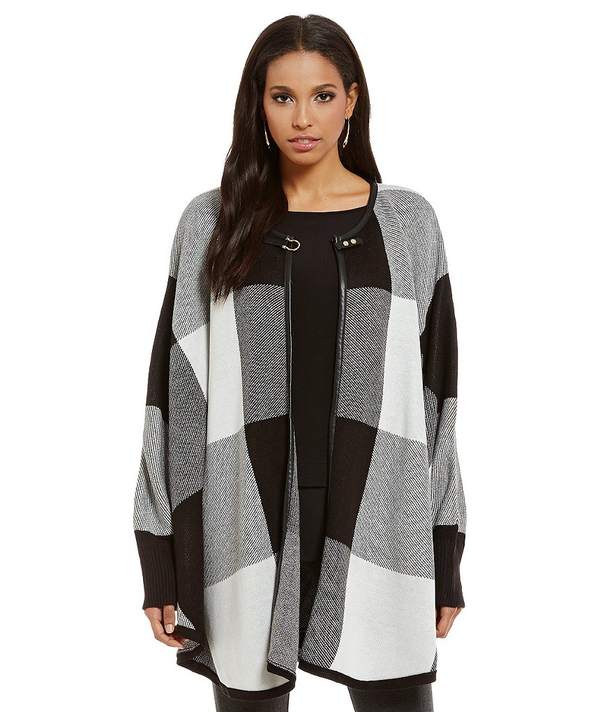 Ivanka Trump Box Plaid Faux Leather Trim Poncho Cardigan