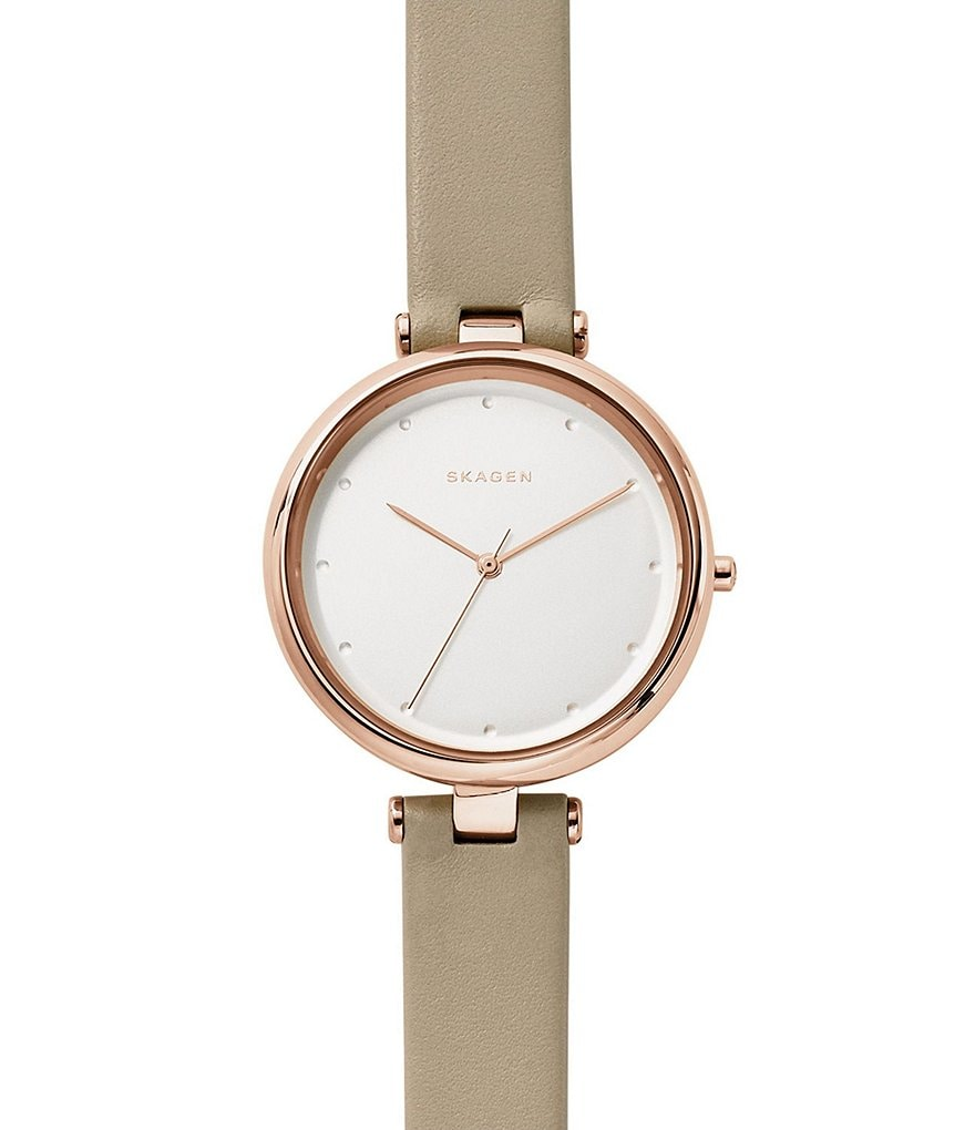 Skagen Tanja Analog Leather-Strap Watch
