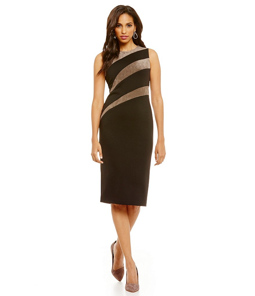 Ivanka Trump Faux Suede Diagonal Stripe Inset Ponte Knit Sheath Dress