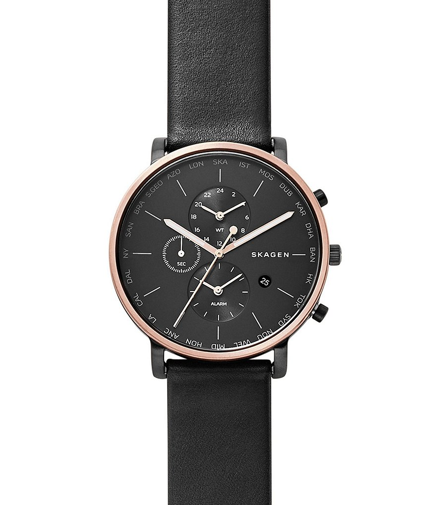 Skagen Hagen Multifunction Leather-Strap Watch