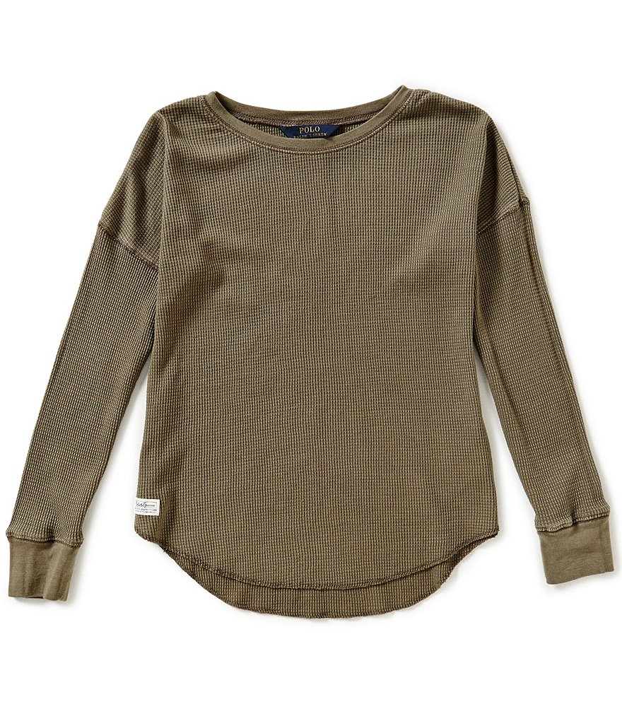 Ralph Lauren Childrenswear Big Girls 7-16 Waffle-Knit Long-Sleeve Top