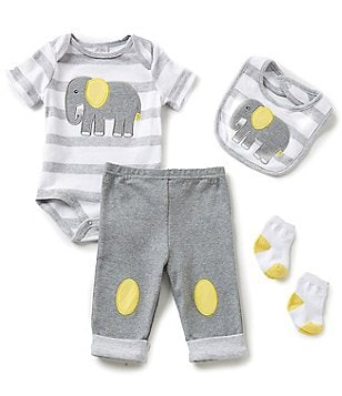 Starting Out Baby Boys Newborn-9 Months Elephant-Appliquéd 4-Piece Layette Set