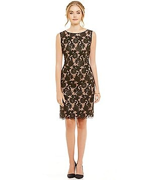 Ivanka Trump Floral Mesh Lace Sleeveless Sheath Dress
