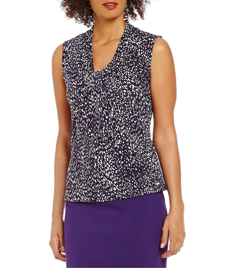 Calvin Klein Petites Animal Print Knotted V-Neck Matte Jersey Shell