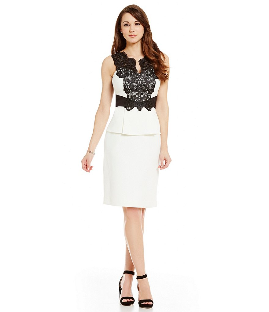 Antonio Melani Lily Contrast Lace Sleeveless Sheath Dress