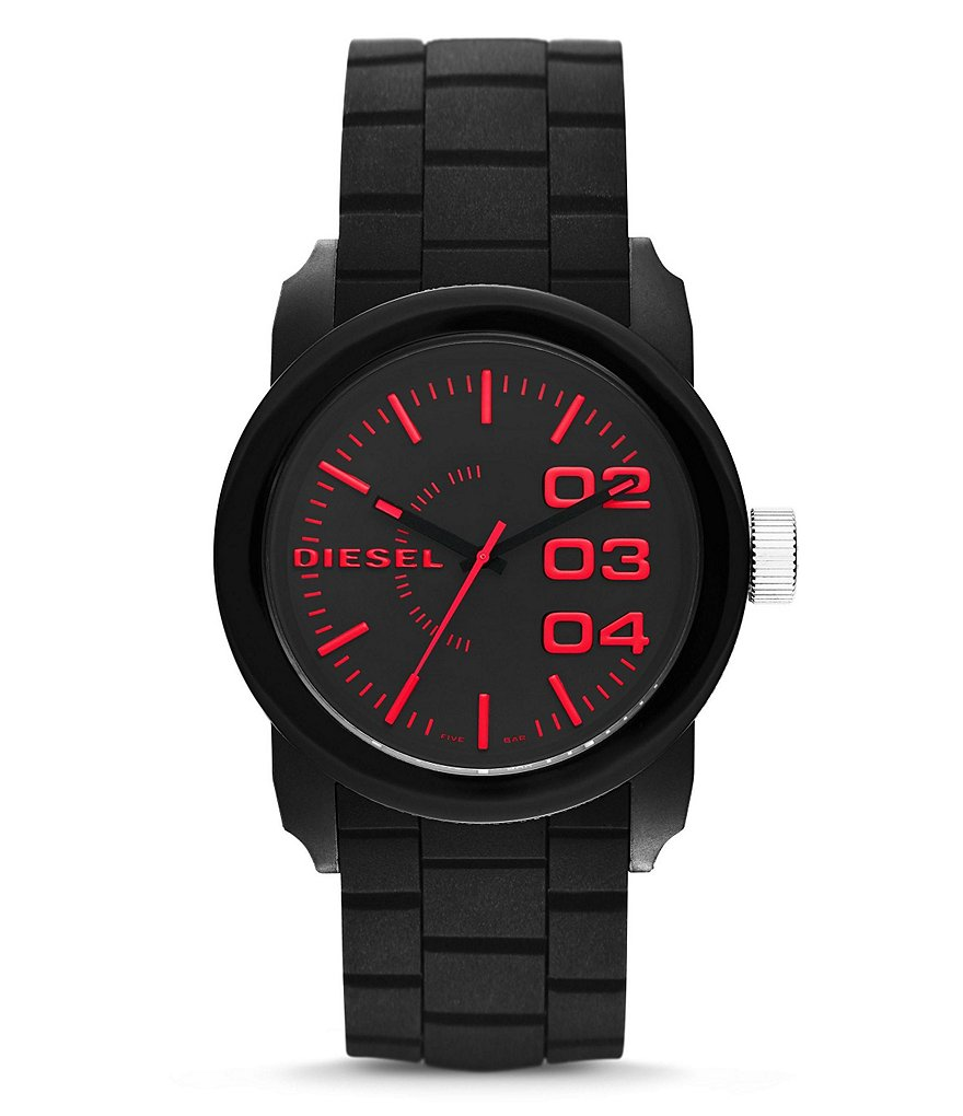 Diesel Double Down 44 Analog Silicone-Strap Watch