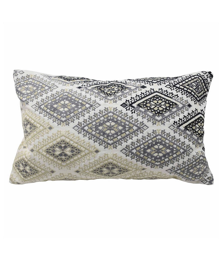 Blissliving HOME Khadija Ombré Diamond-Embroidered Oblong Feather Pillow