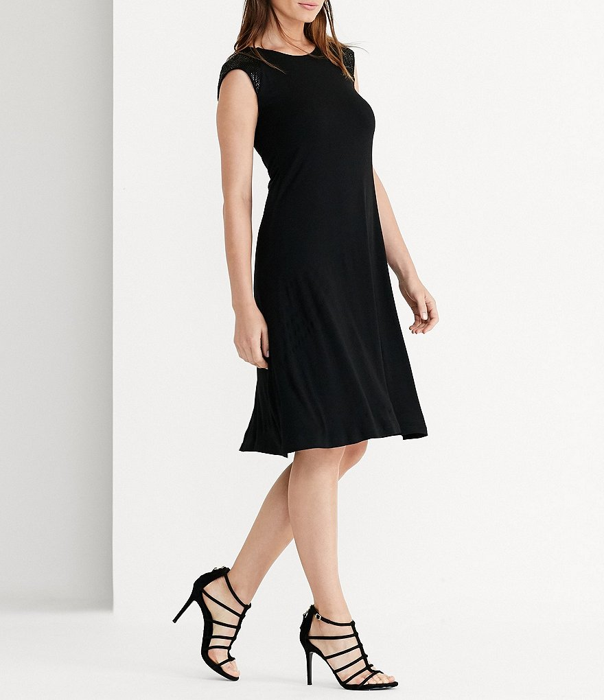 Lauren Ralph Lauren Beaded Cap-Sleeve Jersey Dress