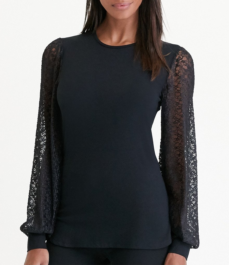 Lauren Ralph Lauren Lace Sleeve Jersey Top