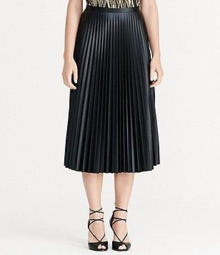 Lauren Ralph Lauren Faux-Leather Pleated A-Line Midi Skirt