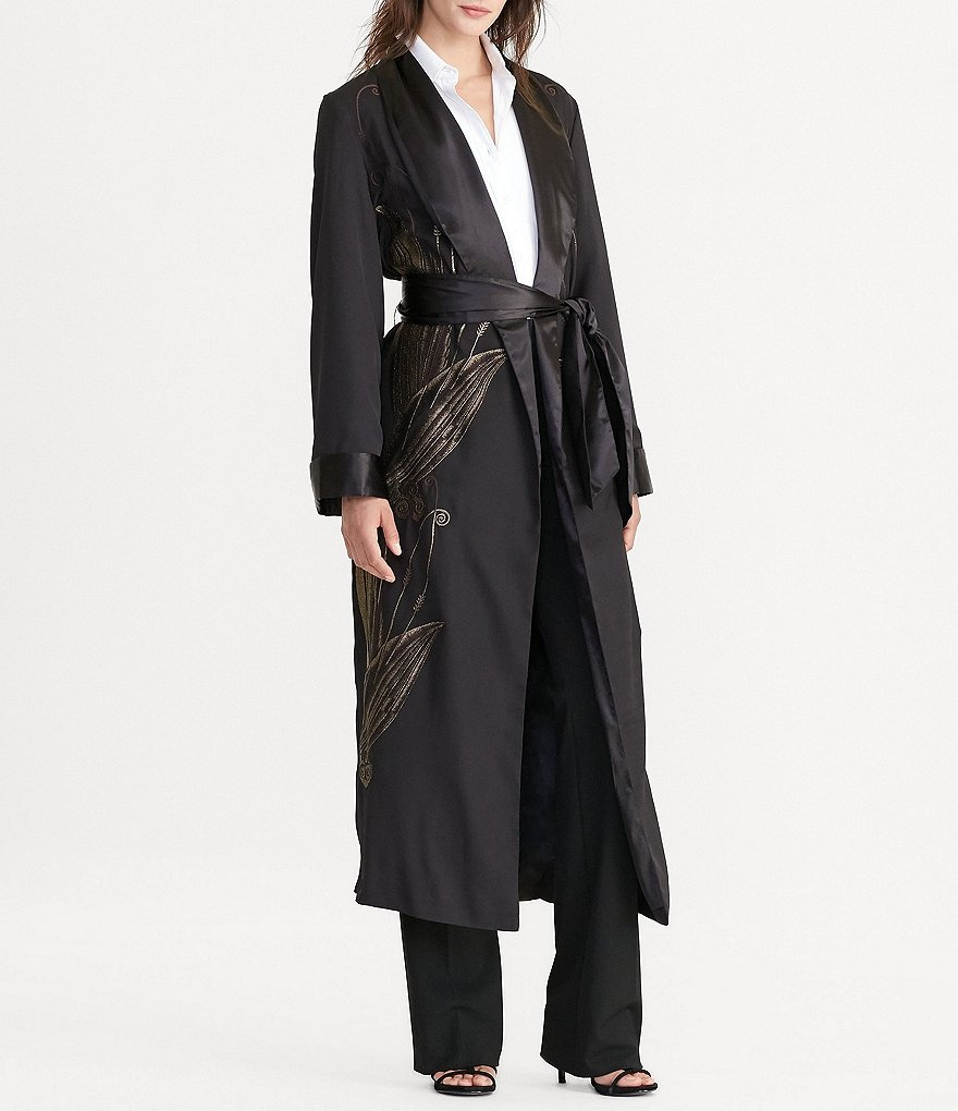 Lauren Ralph Lauren Embroidered Long Wrap Crepe Jacket