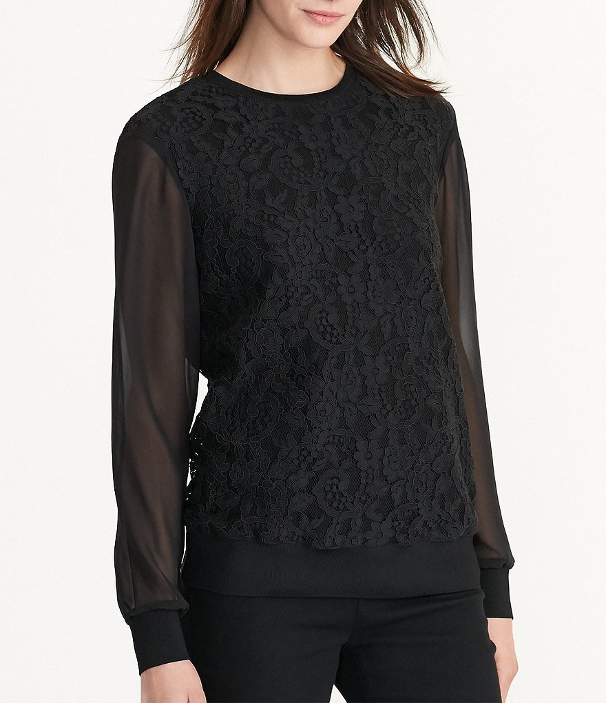 Lauren Ralph Lauren Lace Sheer Sleeve Georgette Top