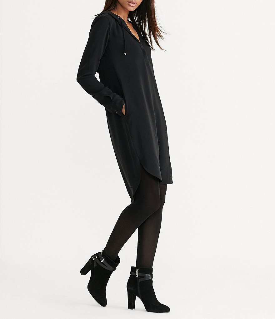 Lauren Ralph Lauren Hooded Long Sleeve Crepe Dress