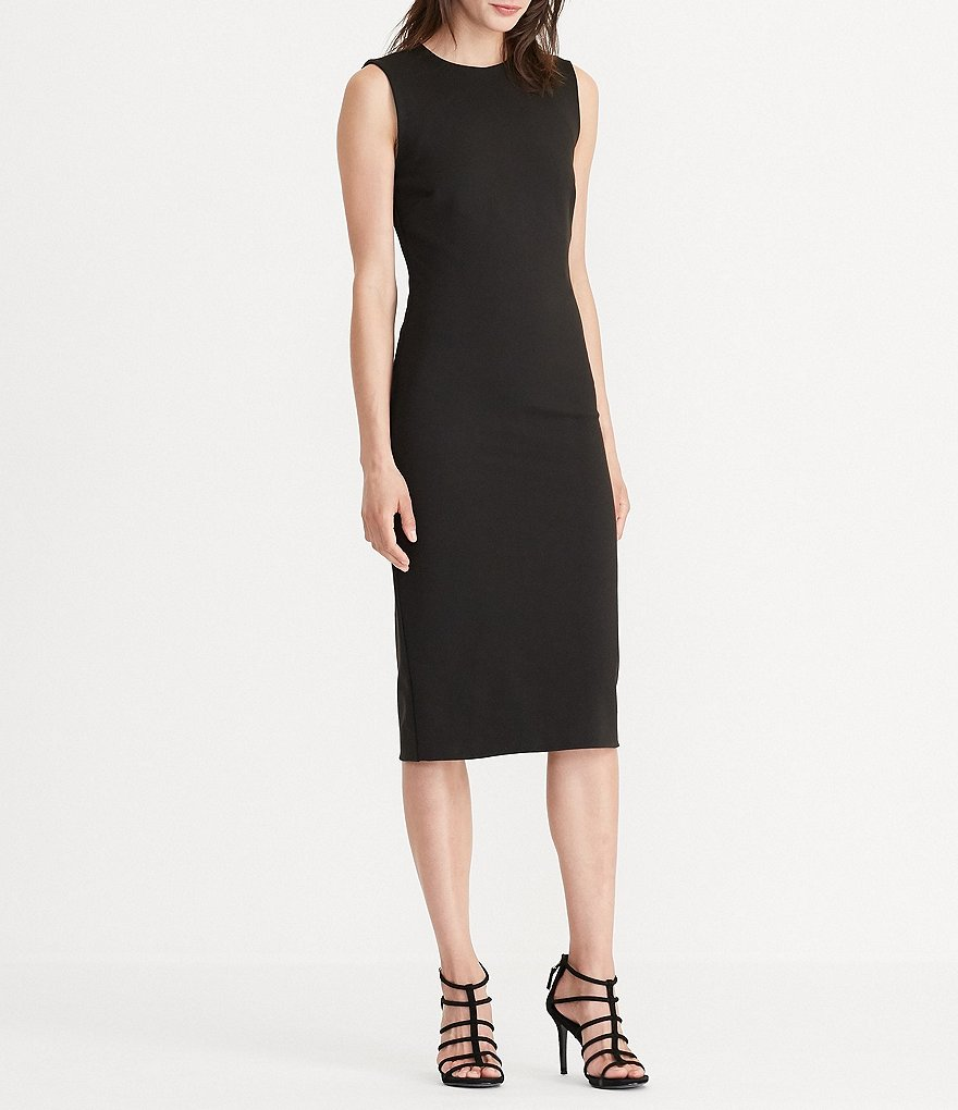Lauren Ralph Lauren Jersey Sheath Sleeveless Midi Dress