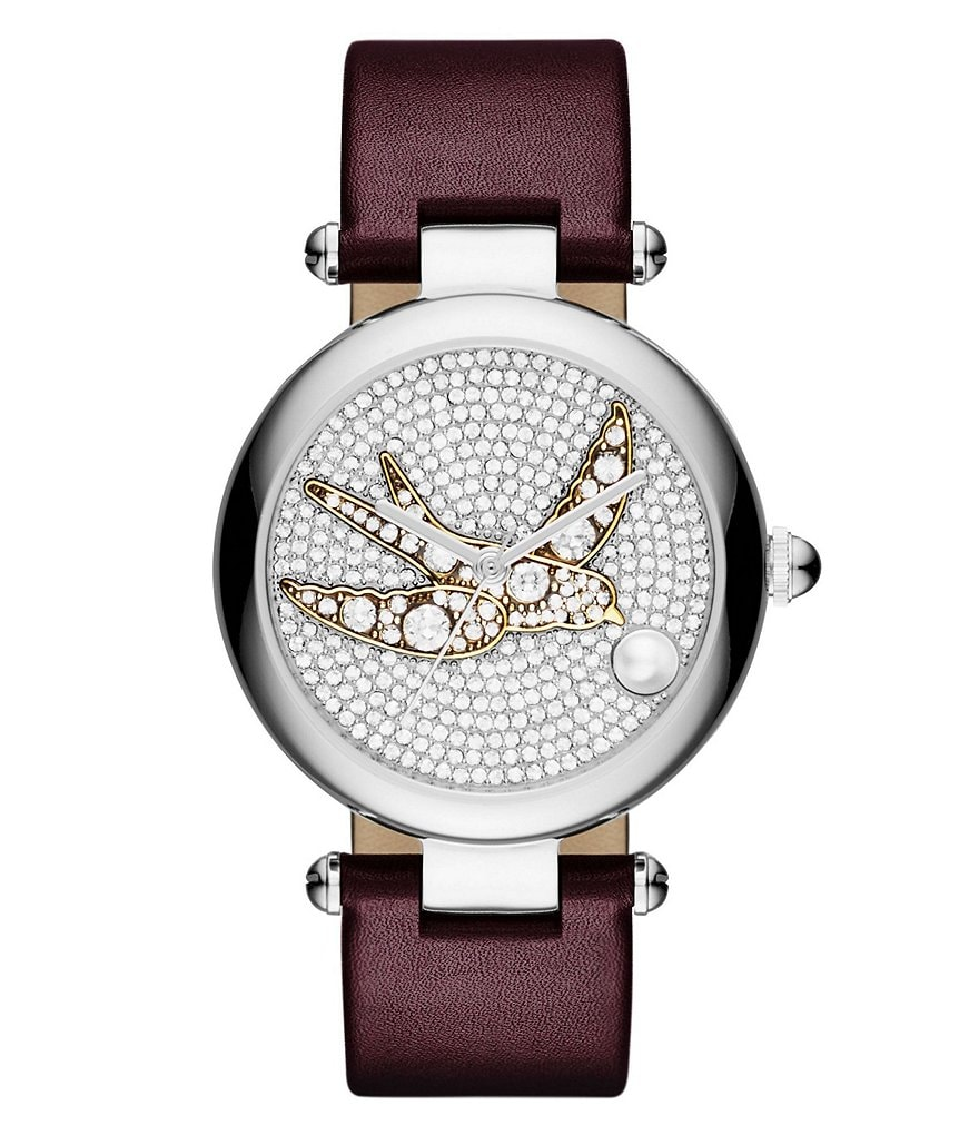 Marc Jacobs Dotty Pavé & Pearl Sparrow Analog Leather-Strap Watch