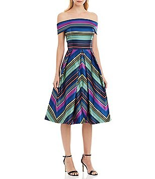 Nicole Miller New York Off-the-Shoulder Striped A-Line Midi Dress