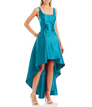 Nicole Miller New York Scoop Neck Sleeveless Taffeta Hi-Low Dress