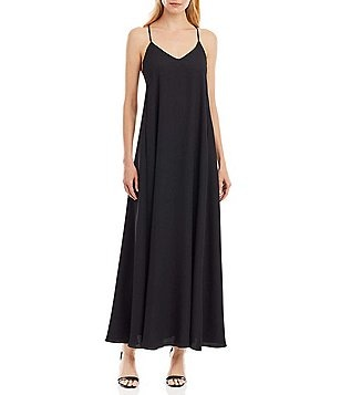 Nicole Miller New York Spaghetti-Strap Crepe Maxi Dress
