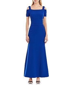 Nicole Miller New York Square Neck Cold-Shoulder Fitted Solid Mermaid Gown