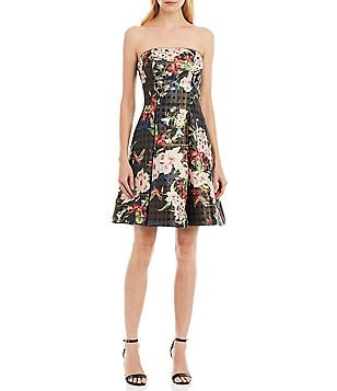 Nicole Miller New York Strapless Floral Print Fit-and-Flare Dress