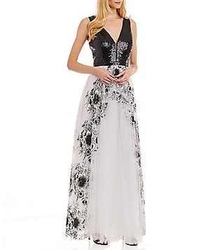Nicole Miller New York Sequin-Bodice Embroidered Sleeveless Gown