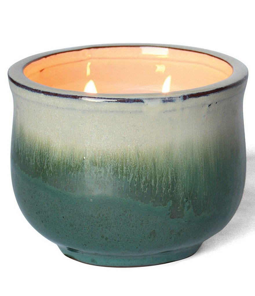 FlashPoint Posh Pot Laurel & Cranberry Two-Wick Glazed Pottery Candle