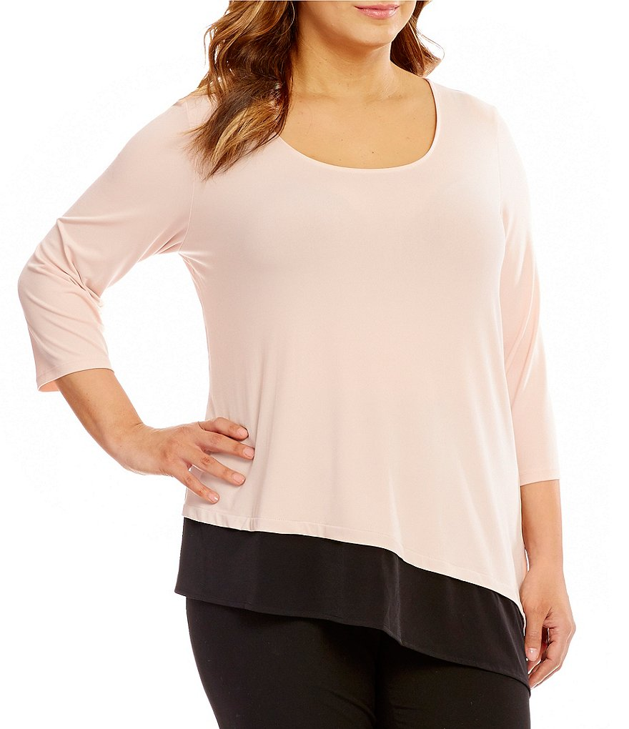 Calvin Klein Plus Double Layer Angle Hem 3/4 Sleeve Top