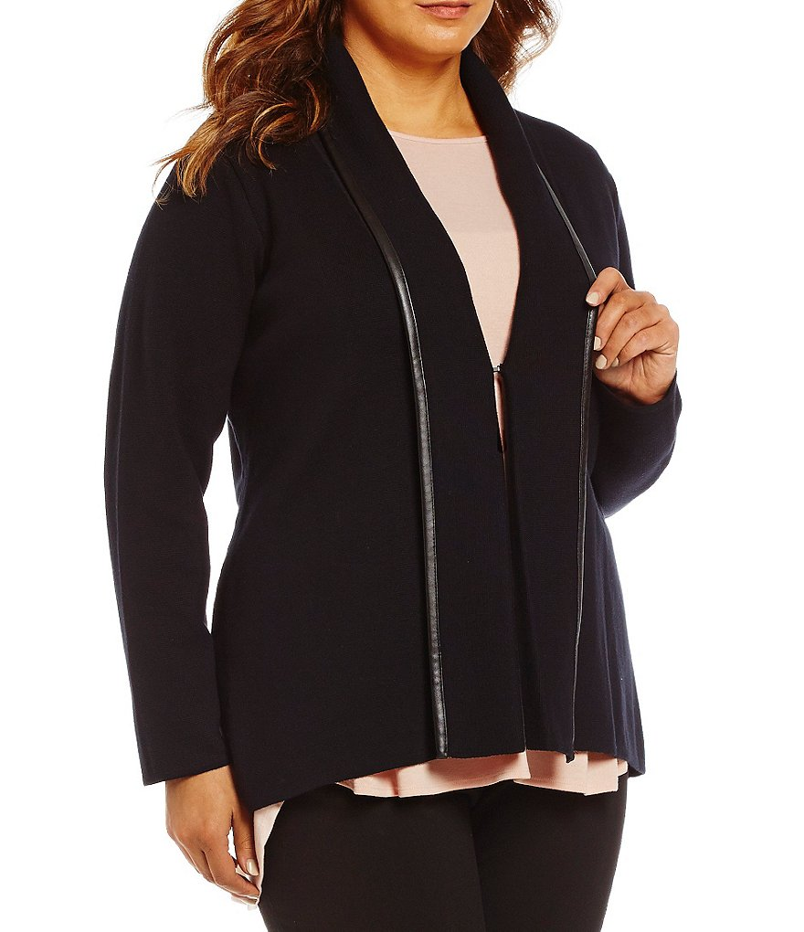 Calvin Klein Plus Long Sleeve Trim Knit Cardigan