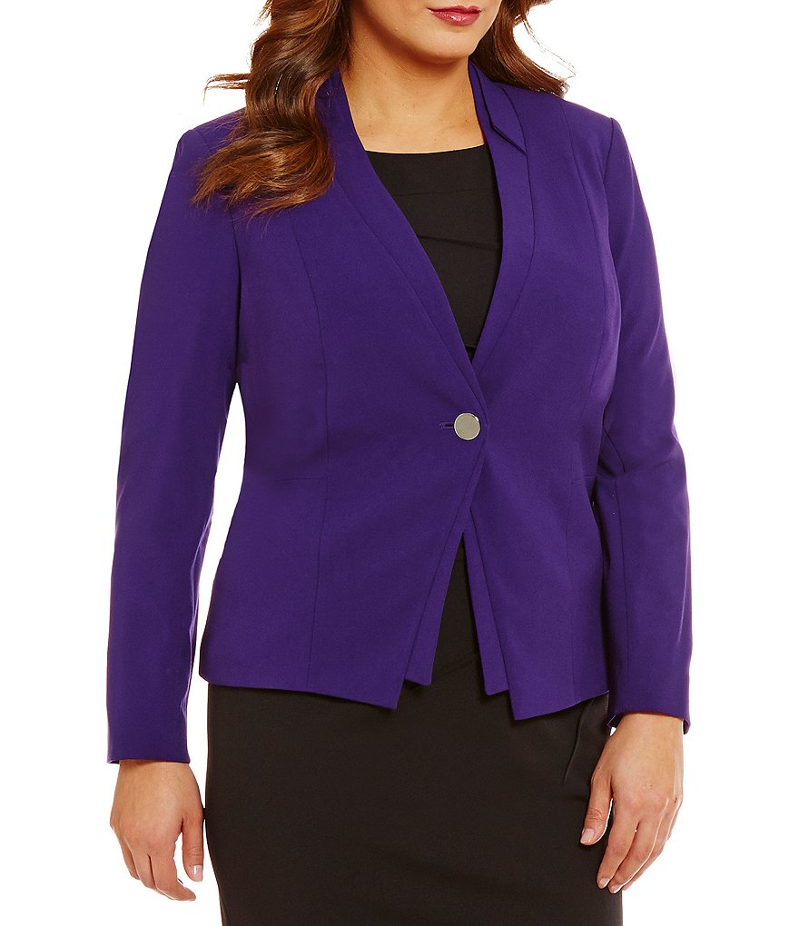 Calvin Klein Plus Notch Collar One-Button Luxe Jacket