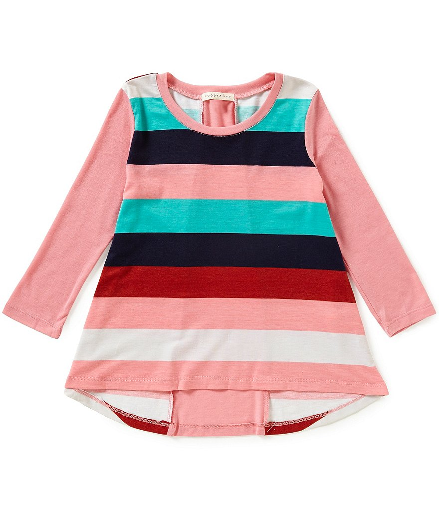 Copper Key Big Girls 7-16 Striped Spliced-Back Long-Sleeve High-Low Tee