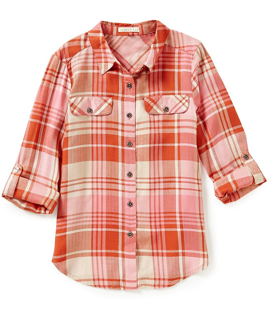 Copper Key Big Girls 7-16 Plaid Button-Front Top