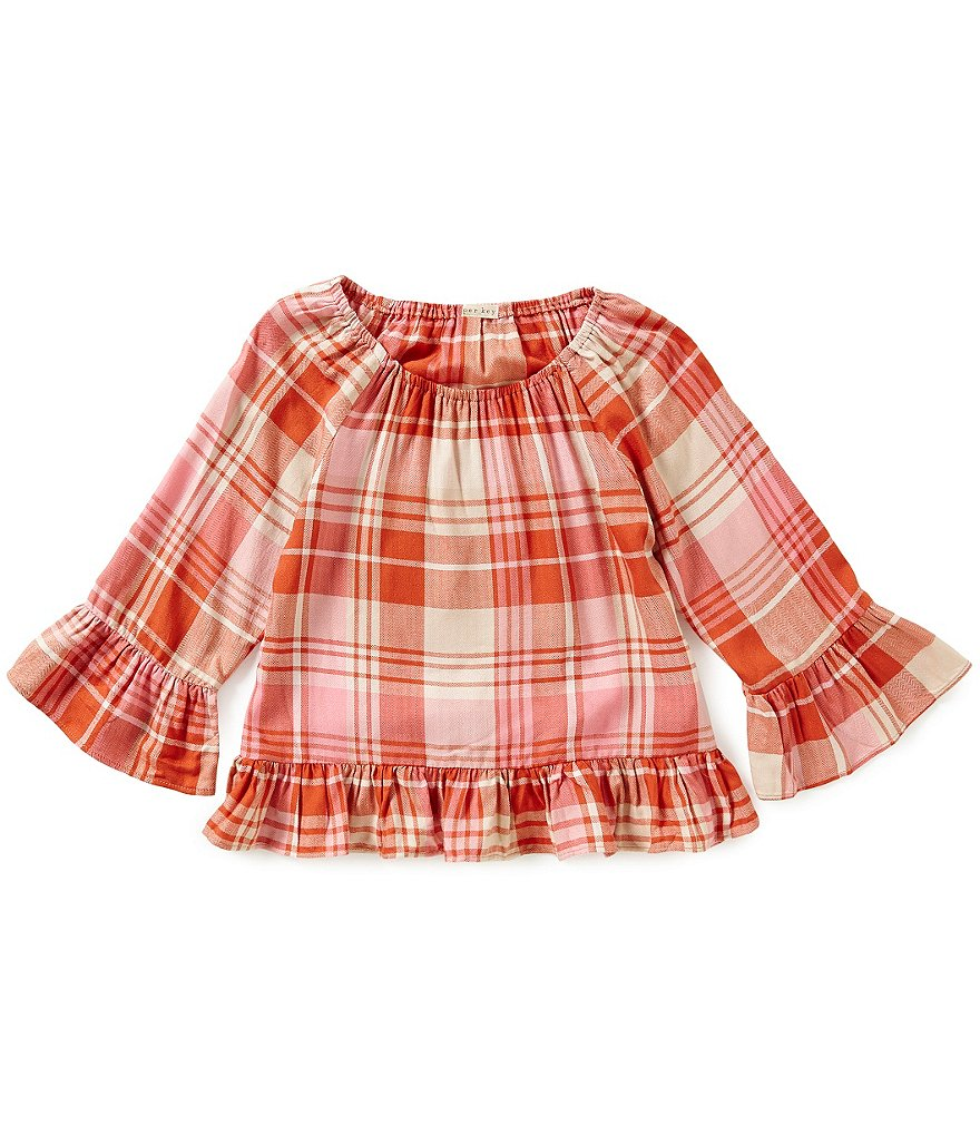 Copper Key Big Girls 7-16 Ruffle-Plaid Top