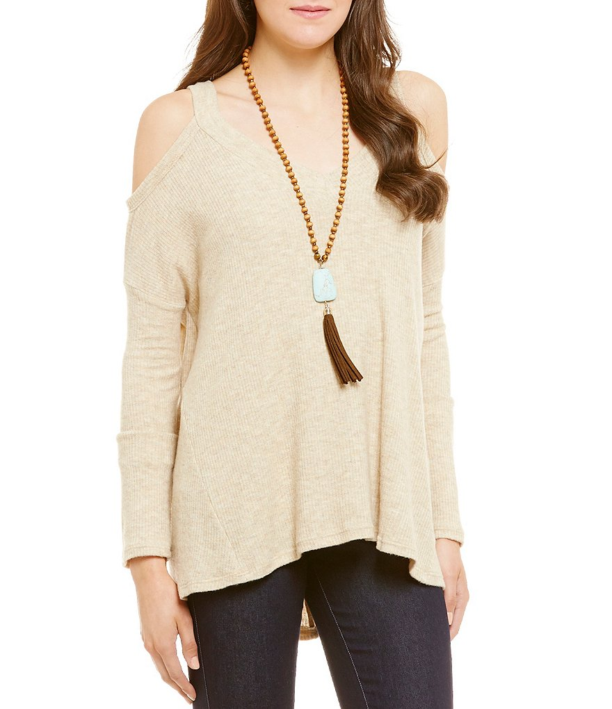 GB Cold Shoulder V-Neckline Sweater