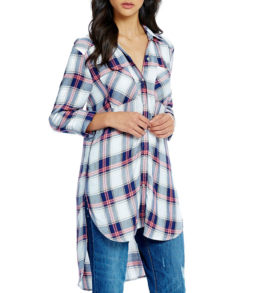 GB Plaid Button-Front Hi-Low Tunic