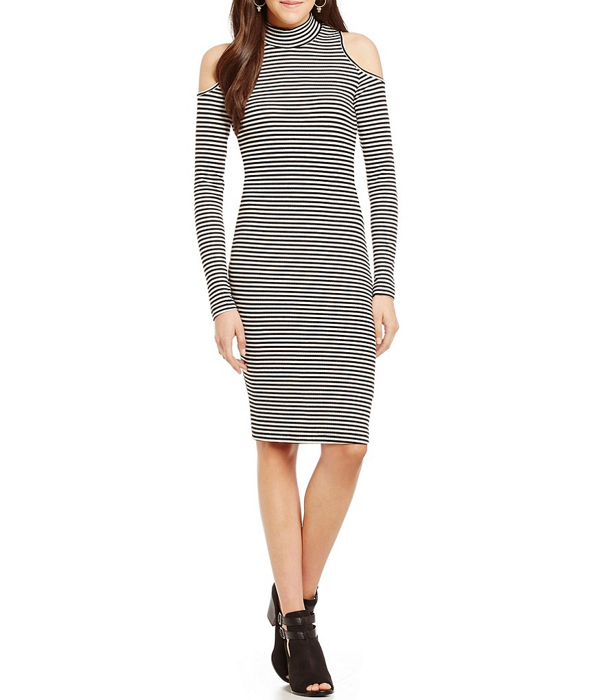 GB Mockneck Cold Shoulder Knit Sheath Dress
