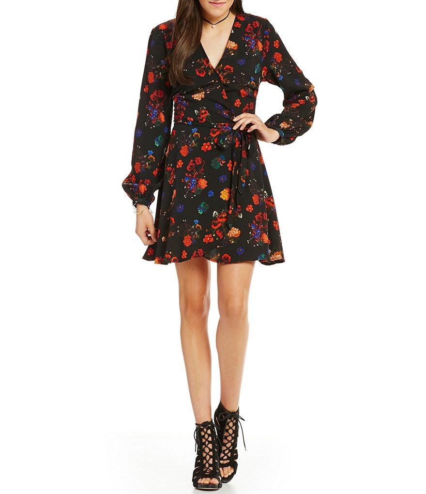 GB Floral-Print V-Neck Wrap Dress
