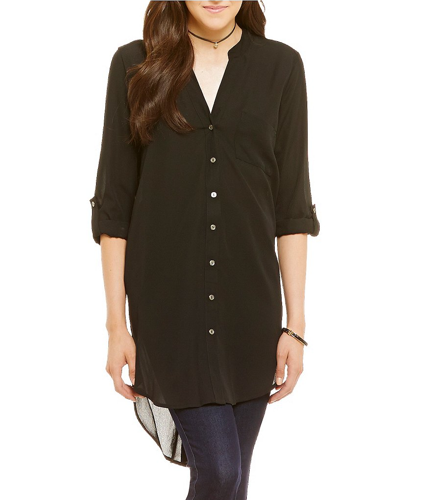 GB Fan Fav Button-Front Tunic Blouse