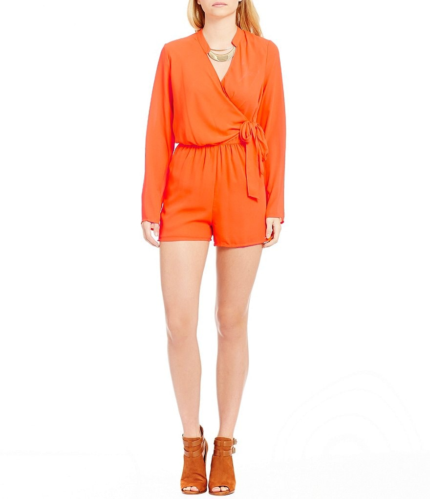 GB Faux Wrap Long Sleeve Romper