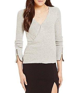 GB Wrap Front Zipper Detail Sweater