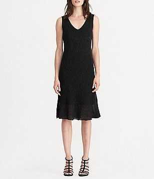 Lauren Ralph Lauren Petites Sleeveless Fit-And-Flare Solid Knit Dress