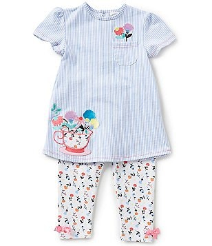 Starting Out Baby Girls 12-24 Months Tea Cup Flower-Appliqued Tunic & Printed Leggings Set