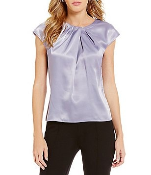 Kasper Petite Pleated-Neck Charmeuse Top