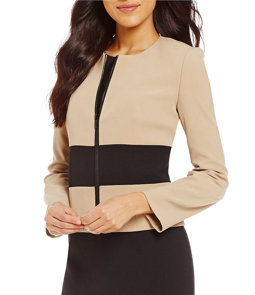 Kasper Petite Crew Neck Zip Front Stretch Crepe Colorblock Jacket