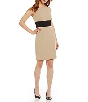 Kasper Petite Sleeveless Stretch Crepe Colorblock Sheath Dress