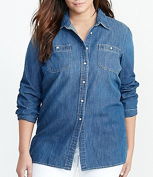 Lauren Ralph Lauren Plus Long Sleeve Denim Utility Shirt