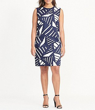 Lauren Ralph Lauren Plus Printed-Front Sleeveless Sweater Shift Dress