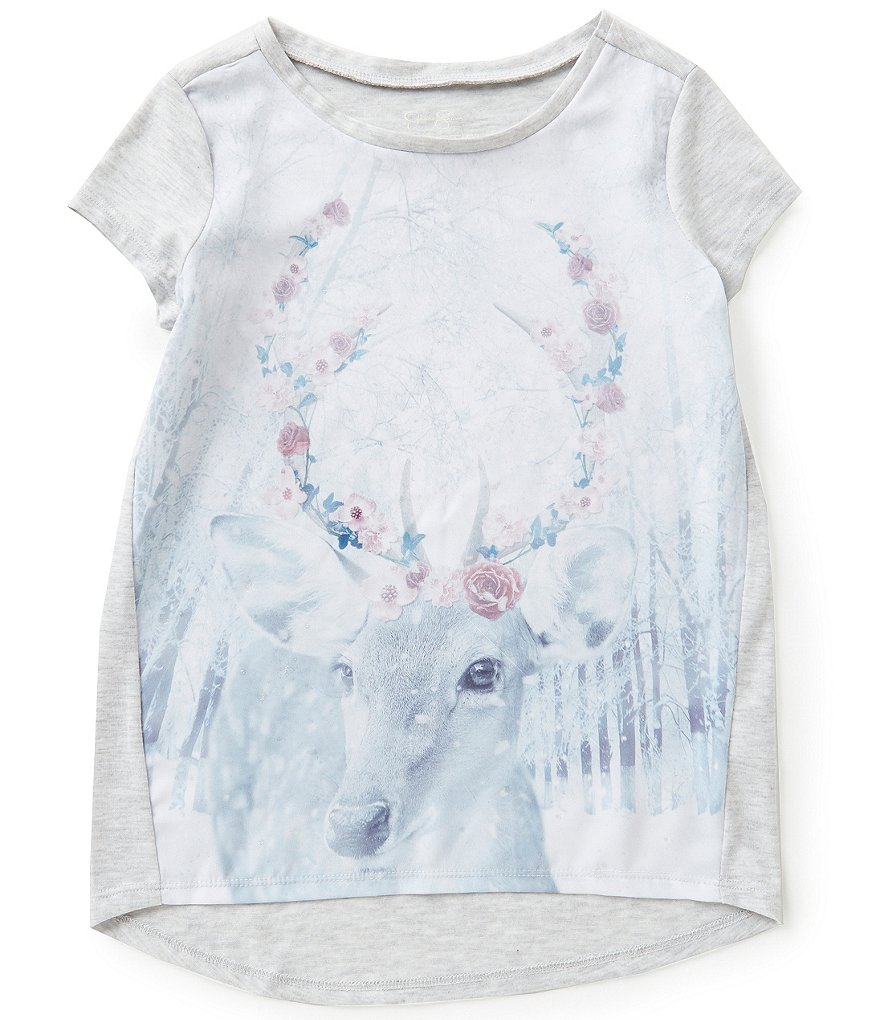 Jessica Simpson Big Girls 7-16 Marie Snowy Forest Graphic High-Low Tee