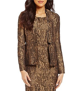 Kasper Inverted V-Neck Metallic Jacquard Printed Open-Front Jacket