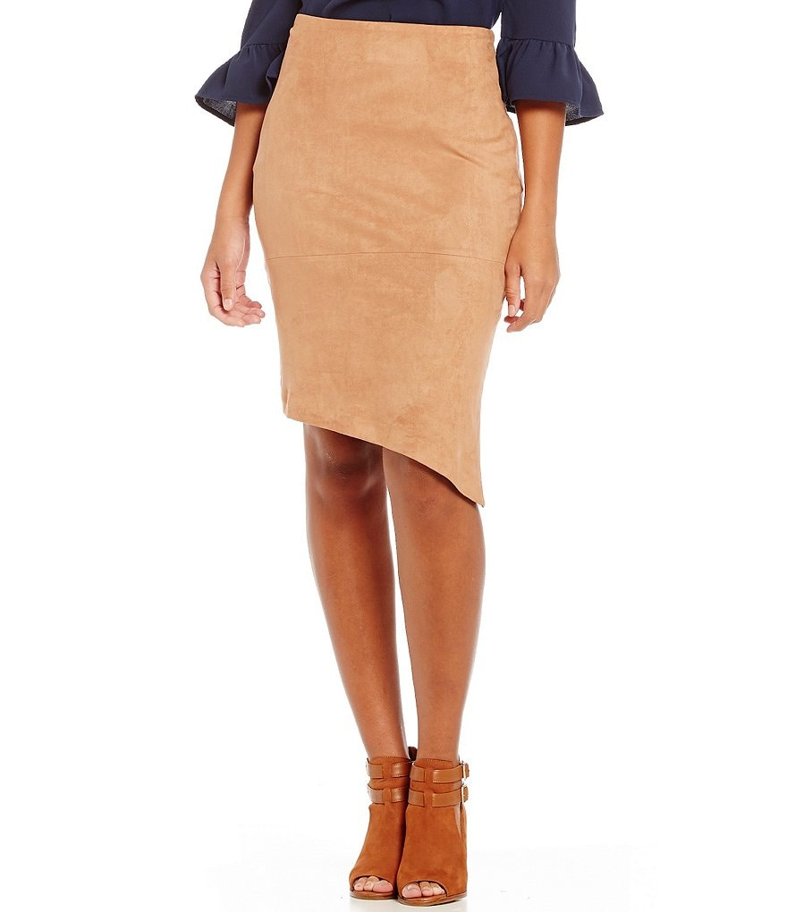 GB Faux-Suede Asymmetrical Hem Skirt